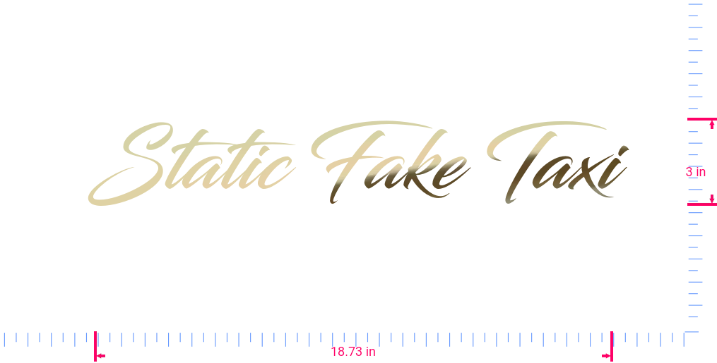 Text Static Fake Taxi Vinyl custom lettering decal/3 x 18.73 in/ Gold Chrome /
