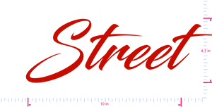 Text Street Vinyl custom lettering decal/4.1 x 10 in/ Red /