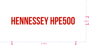 Text HENNESSEY HPE500  Vinyl custom lettering decal/2.52 x 21.95 in/ Red /