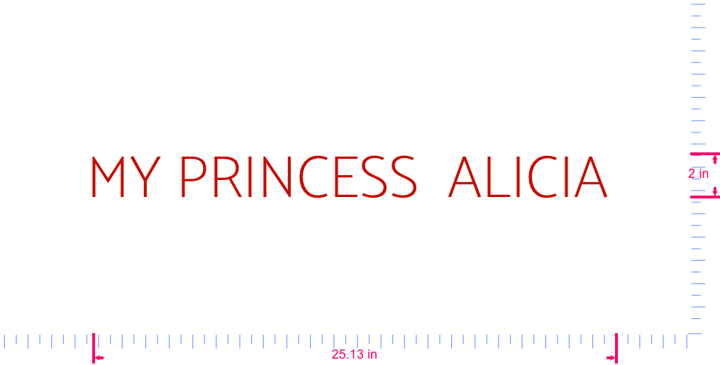 Text MY PRINCESS  ALICIA  Vinyl custom lettering decal/2 x 25.13 in/ Red /
