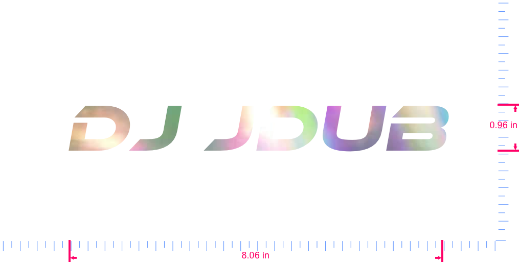 Text DJ JDUB Vinyl custom lettering decal/0.96 x 8.06 in/ OilSlick Chrome /