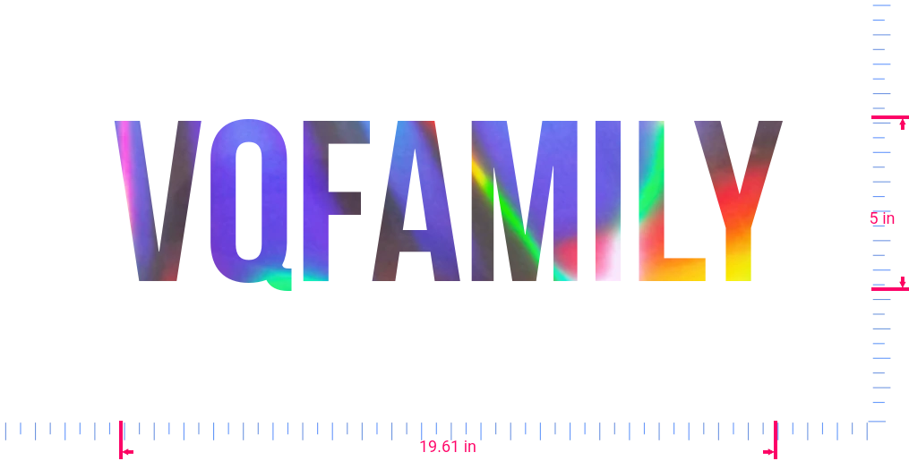 Text Vqfamily Vinyl custom lettering decall/5 x 19.61 in/ OilSlick Chrome /
