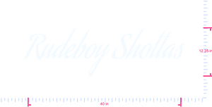 Text Rudeboy Shottas Vinyl custom lettering decal/12.35 x 40 in/ White /