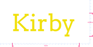 Text Kirby  Vinyl custom lettering decal/4.39 x 13 in/ Yellow /
