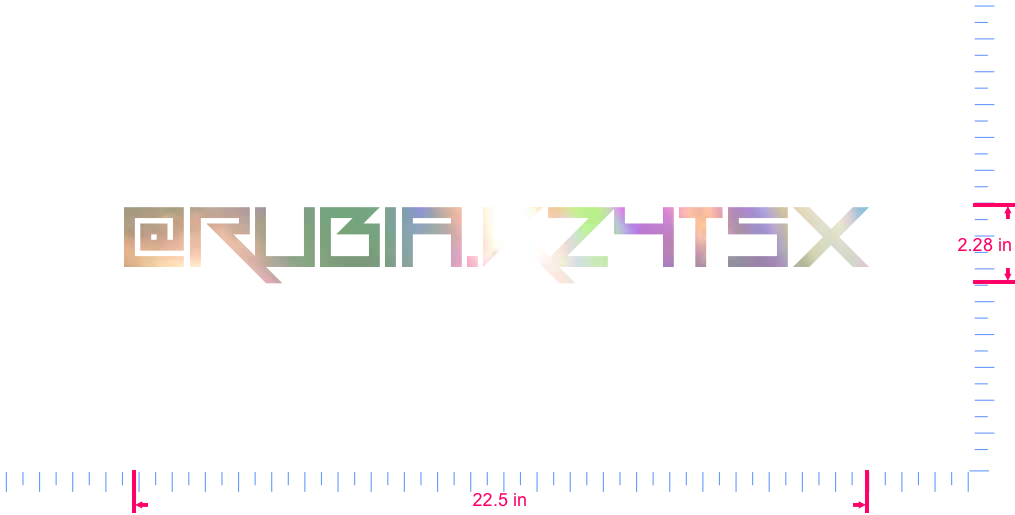Text @Rubia.K24Tsx Vinyl custom lettering decal/2.28 x 22.5 in/ OilSlick Chrome /