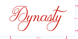 Text Dynasty  Vinyl custom lettering decal/2.3 x 5.22 in/ Red /