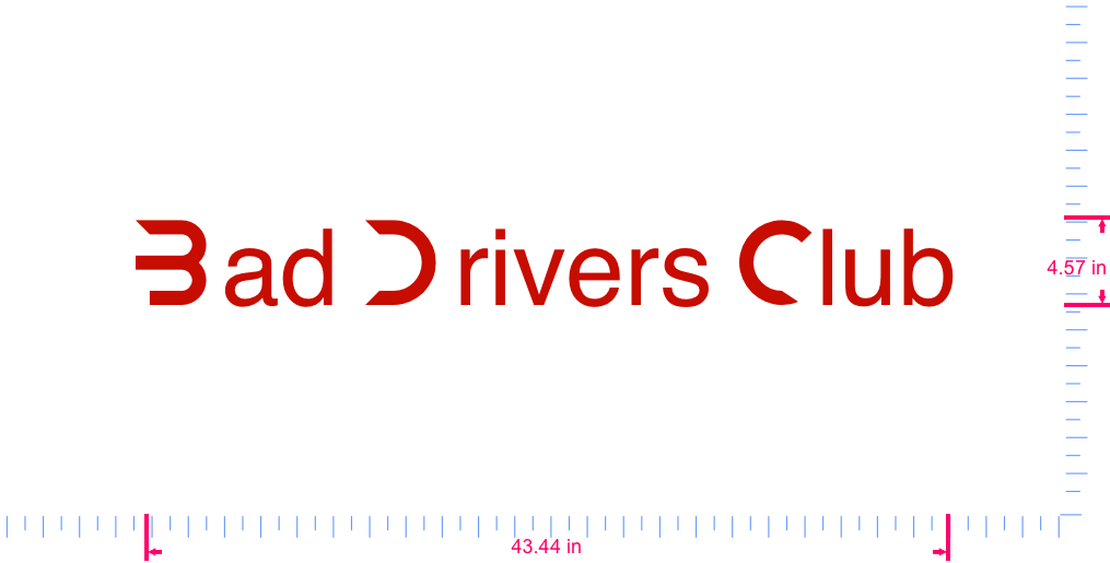 Text Bad Drivers Club Vinyl custom lettering decall/4.57 x 43.44 in/ Red /