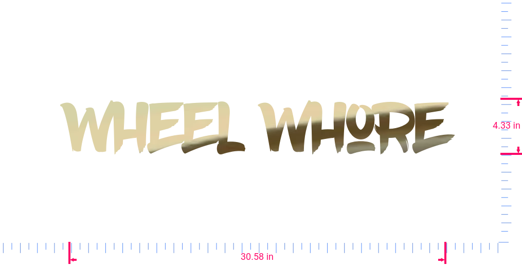 Text Wheel Whore Vinyl custom lettering decall/4.33 x 30.58 in/ Gold Chrome /