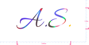 Text A.S. Vinyl custom lettering decall/1.5 x 3.94 in/ OilSlick Chrome /