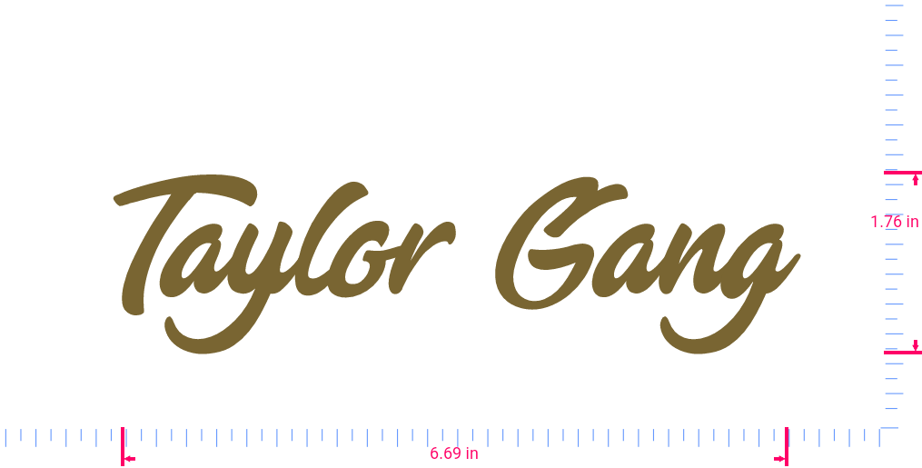 Text Taylor Gang Vinyl custom lettering decal/1.76 x 6.69 in/ Gold /