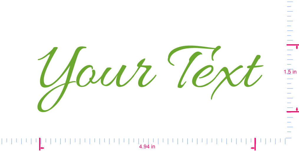 Text Your Text Vinyl custom lettering decal/1.5 x 4.94 in/ Lime-tree Green /