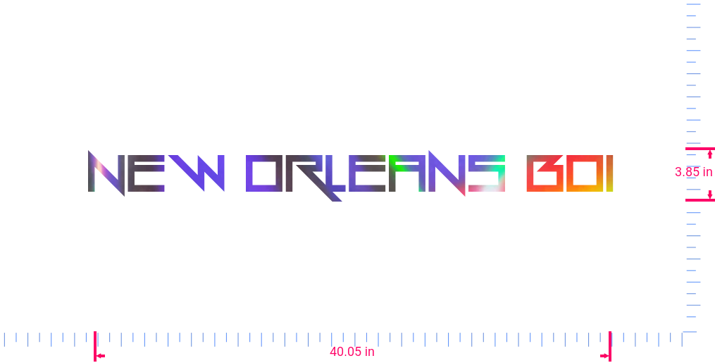 Text NEW ORLEANS BOI Vinyl custom lettering decall/3.85 x 40.05 in/ OilSlick Chrome /
