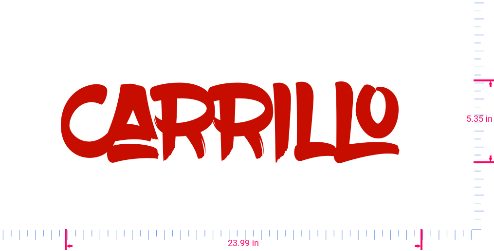 Text Carrillo  Vinyl custom lettering decall/5.35 x 23.99 in/ Red /