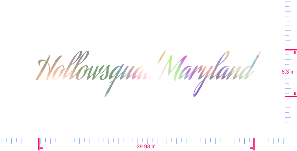 Text Hollowsquad Maryland  Vinyl custom lettering decal/6.3 x 29.98 in/ OilSlick Chrome /