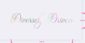 Text Diversely Driven Vinyl custom lettering decal/2.22 x 9.27 in/ OilSlick Chrome/