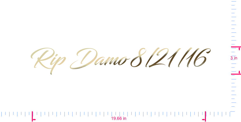 Text Rip Damo 8/21/16 Vinyl custom lettering decal/3 x 19.66 in/ Gold Chrome /
