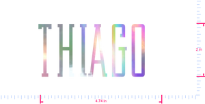 Text Thiago  Vinyl custom lettering decal/2 x 4.74 in/ OilSlick Chrome /