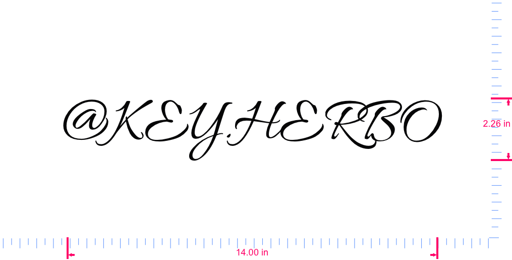 Text @KEY.HERBO Vinyl custom lettering decal/2.26 x 14.00 in/ Black /