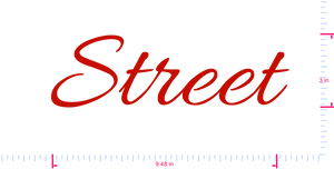 Text Street Vinyl custom lettering decal/3 x 9.48 in/ Red /
