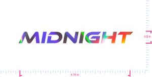 Text Midnight Vinyl custom lettering decall/0.5 x 4.76 in/ OilSlick Chrome /