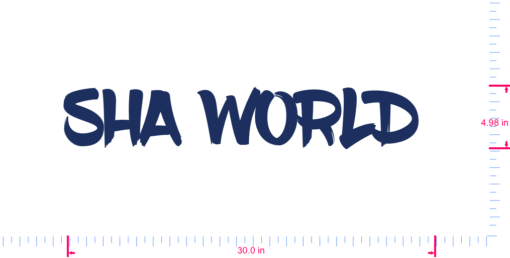 Text SHA WORLD  Vinyl custom lettering decall/4.98 x 30.0 in/ Dark Blue /