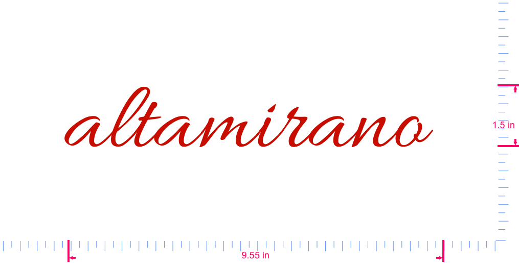 Text altamirano  Vinyl custom lettering decal/1.5 x 9.55 in/ Red /