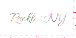Text RecklessNY Vinyl custom lettering decal/7.39 x 30 in/ OilSlick Chrome /