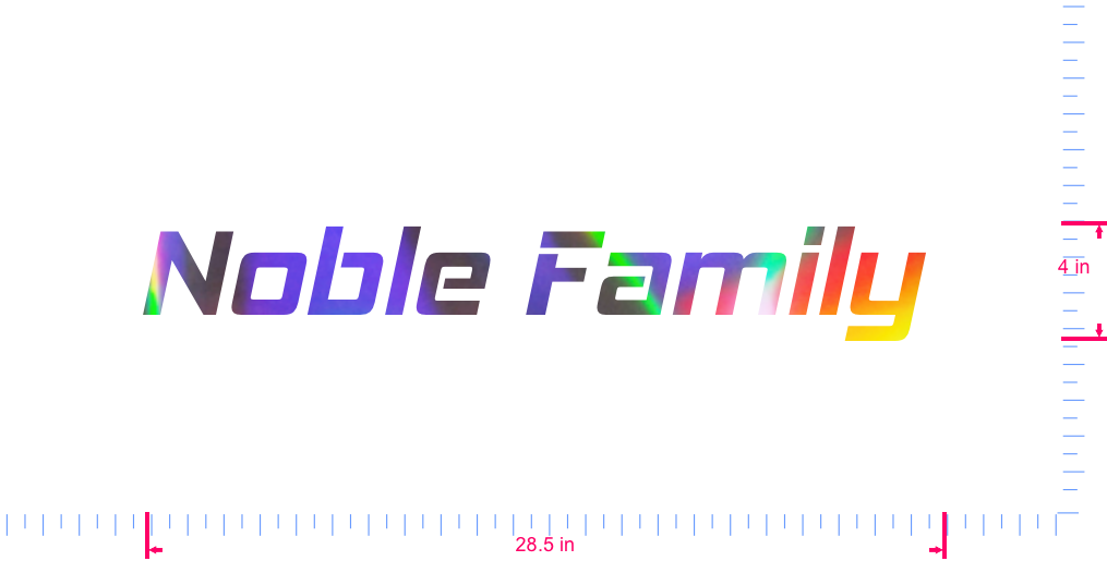 Text Noble Family  Vinyl custom lettering decall/4 x 28.5 in/ OilSlick Chrome /