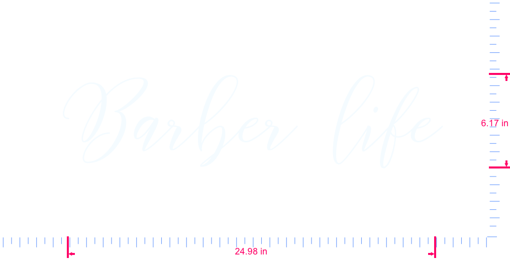 Text Barber life Vinyl custom lettering decal/6.17 x 24.98 in/ White /