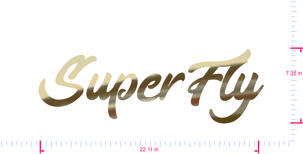 Text SuperFly Vinyl custom lettering decal/7.35 x 22.11 in/ Gold Chrome /