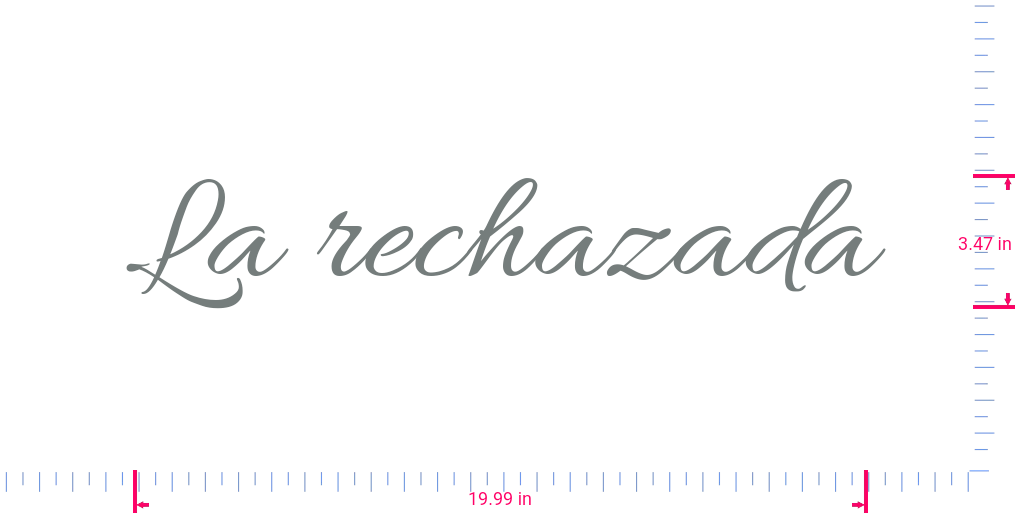 Text La rechazada Vinyl custom lettering decal/3.47 x 19.99 in/ Grey /