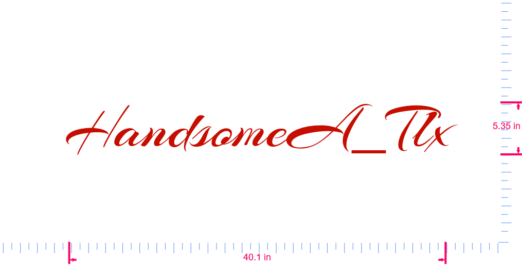 Text HandsomeA_Tlx Vinyl custom lettering decal/5.35 x 40.1 in/ Red /