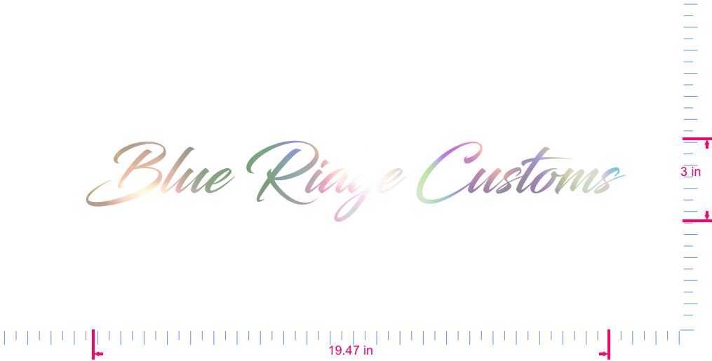 Text Blue Ridge Customs Vinyl custom lettering decal/3 x 19.47 in/ OilSlick Chrome /