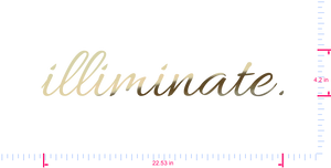 Text illiminate. Vinyl custom lettering decal/4.2 x 22.53 in/ Gold Chrome /