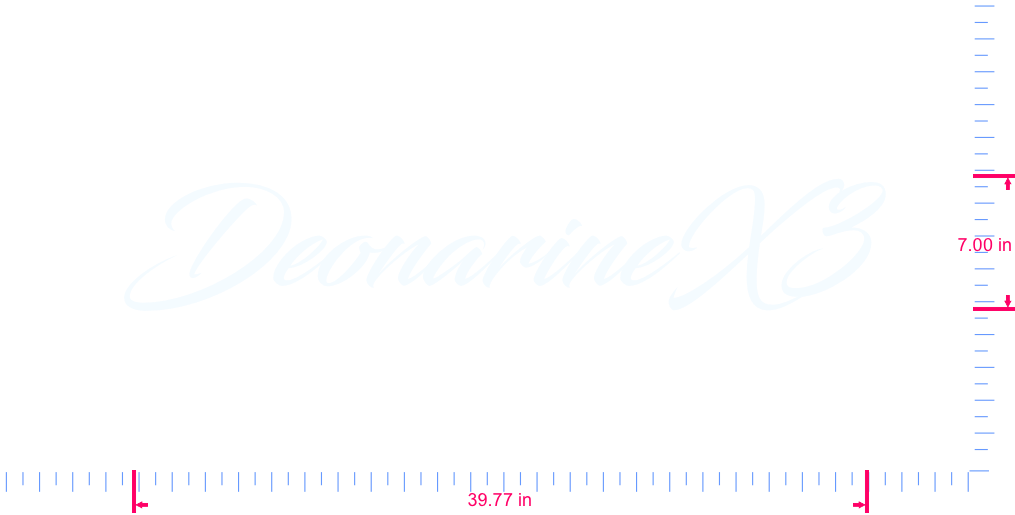 Text DeonarineX3 Vinyl custom lettering decal/7.00 x 39.77 in/ White /