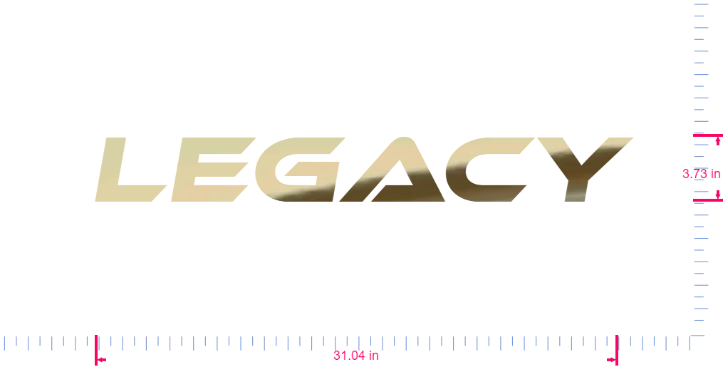 Text Legacy Vinyl custom lettering decal/3.73 x 31.04 in/ Gold Chrome /