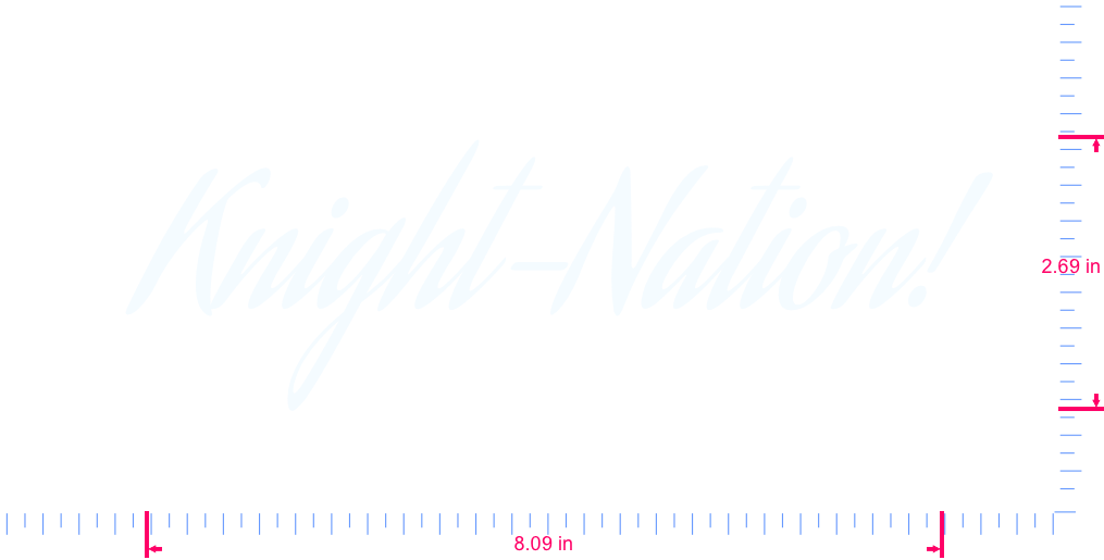 Text Knight-Nation! Vinyl custom lettering decal/2.69 x 8.09 in/ White /