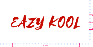 Text EAZY KOOL Vinyl custom lettering decal/1.74 x 8.09 in/ Red /