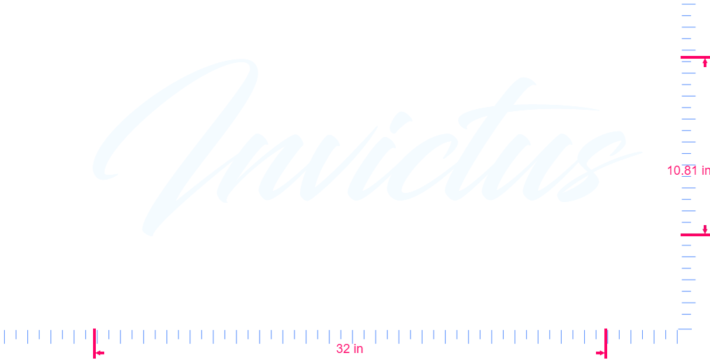 Text Invictus Vinyl custom lettering decal/10.81 x 32 in/ White /