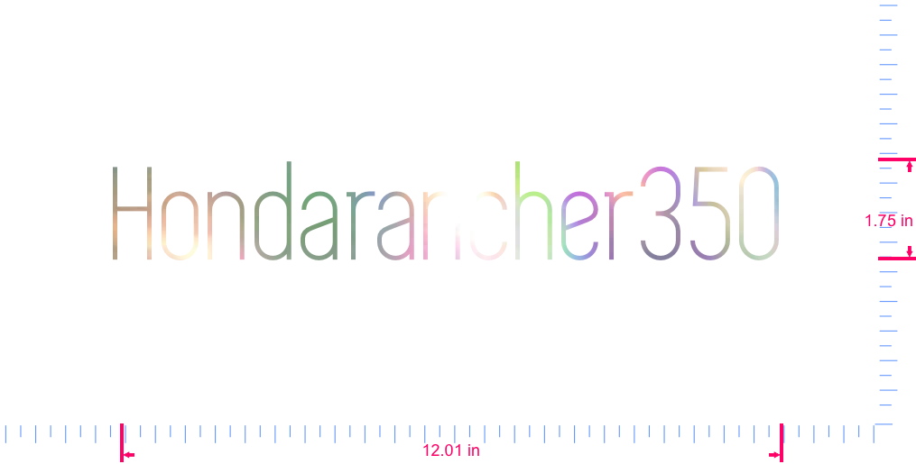 Text Hondarancher350 Vinyl custom lettering decal/1.75 x 12.01 in/ OilSlick Chrome /