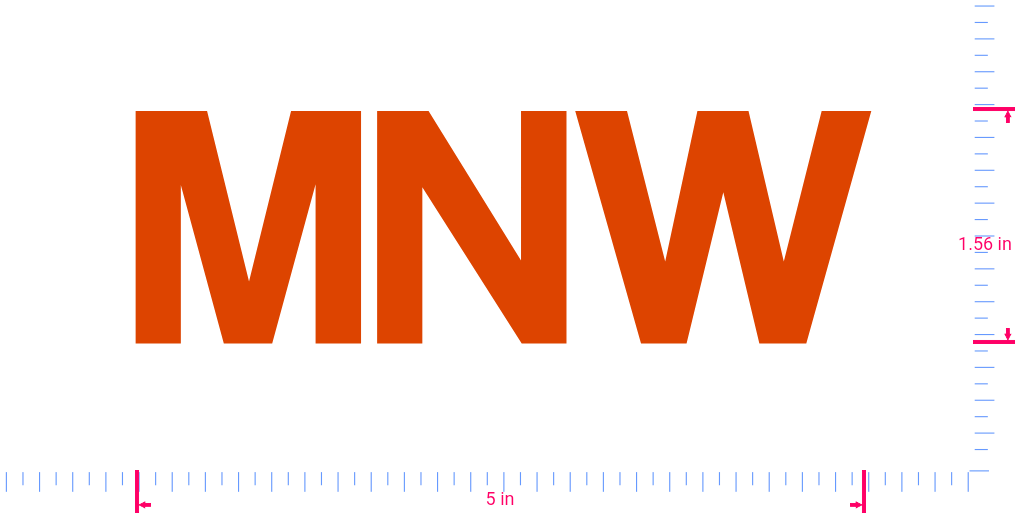 Text MNW Vinyl custom lettering decal/1.56 x 5 in/ Orange /