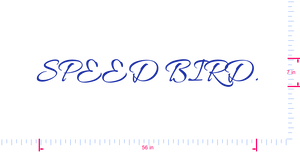 Text SPEED BIRD. Vinyl custom lettering decal/7 x 56 in/ Brilliant Blue /