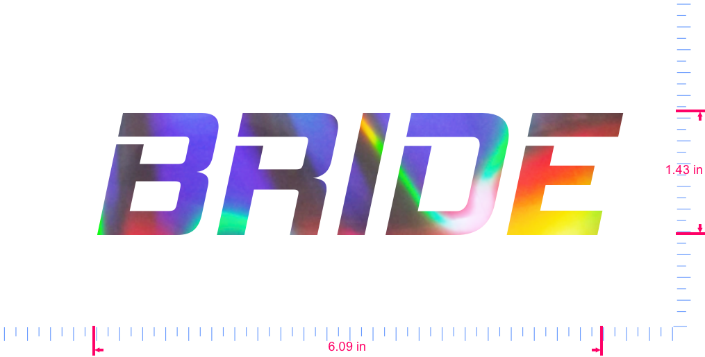 Text BRIDE Vinyl custom lettering decall/1.43 x 6.09 in/ OilSlick Chrome /