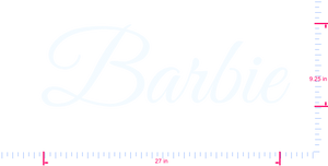 Text Barbie Vinyl custom lettering decall/9.25 x 27 in/ White /