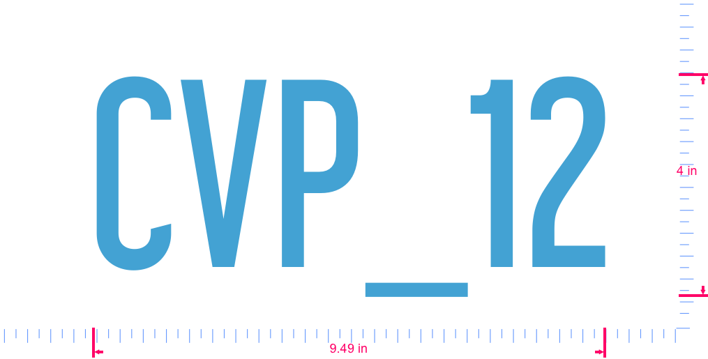 Text CVP_12 Vinyl custom lettering decall/4 x 9.49 in/ Ice Blue /
