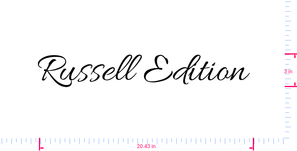 Text Russell Edition  Vinyl custom lettering decal/3 x 20.43 in/ Black /