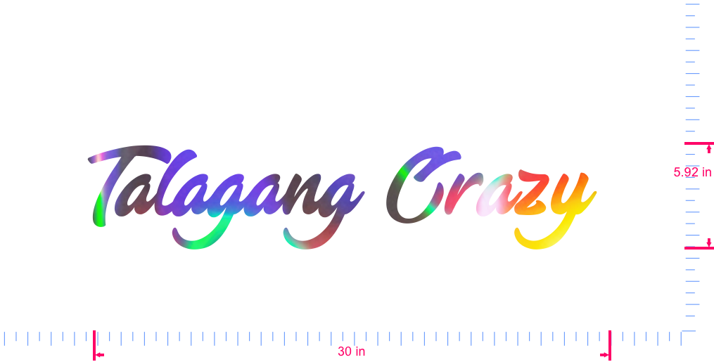 Text Talagang Crazy  Vinyl custom lettering decall/5.92 x 30 in/ OilSlick Chrome /