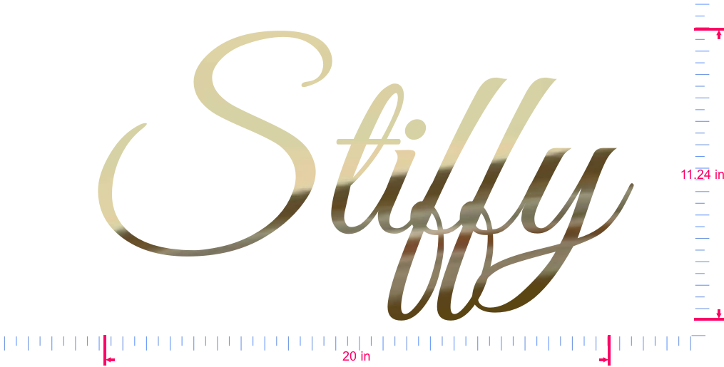 Text Stiffy Vinyl custom lettering decall/11.24 x 20 in/ Gold Chrome /