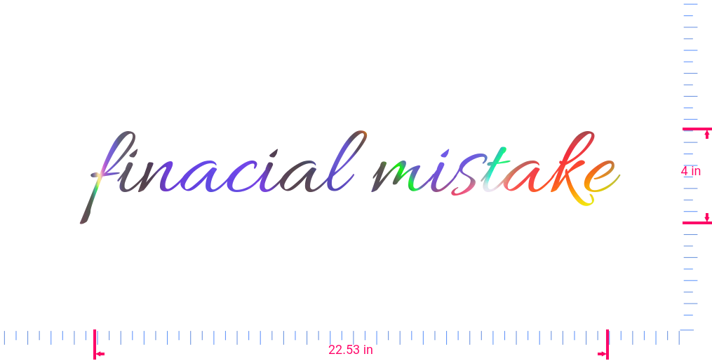 Text finacial mistake Vinyl custom lettering decall/4 x 22.53 in/ OilSlick Chrome /