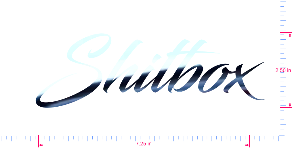 Text Shitbox Vinyl custom lettering decal/2.50 x 7.25 in/ Mirror Chrome /